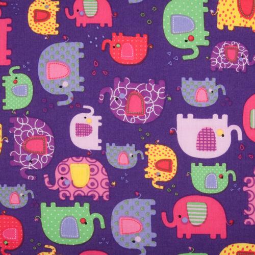 100/% Algodón Popelín Tela Patchwork Elefante púrpura rosado para niños Niños Material