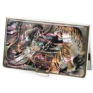 Business Card case Credit Card Case Mother of Pearl Dragon& Tiger Pattern