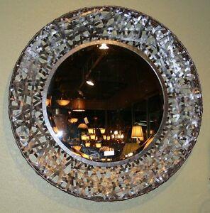 Contemporary Black Woven Metal Wall Mirror Modern Art