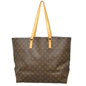 Authentic Louis Vuitton Monogram Shoulder Tote Hand Bag Brown Gold Cabas Alto LV