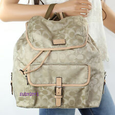 NEW Coach Signature Nylon Backpack Book Bag 32970 Biscuit Tan Beige RARE