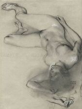 FRANZ VON STUCK GERMAN NUDE WOMAN LYING GROUND OLD ART PAINTING POSTER BB5363A