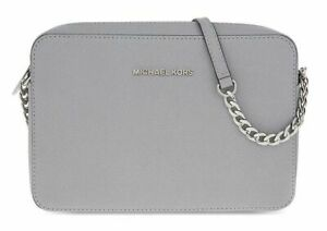9ec596cba9ad MICHAEL KORS Jet Set Travel Medium Crossbody,Pearl Grey, 32T6STVC6L ...