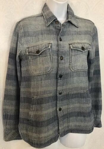 Current Elliott Denim Shirt Light Blue Dark Blue F