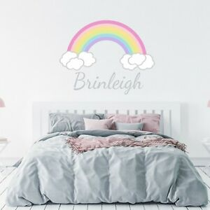 CUSTOM-NAME-VINYL-DECAL-WITH-RAINBOW-amp-CLOUDS-WALL-STICKER