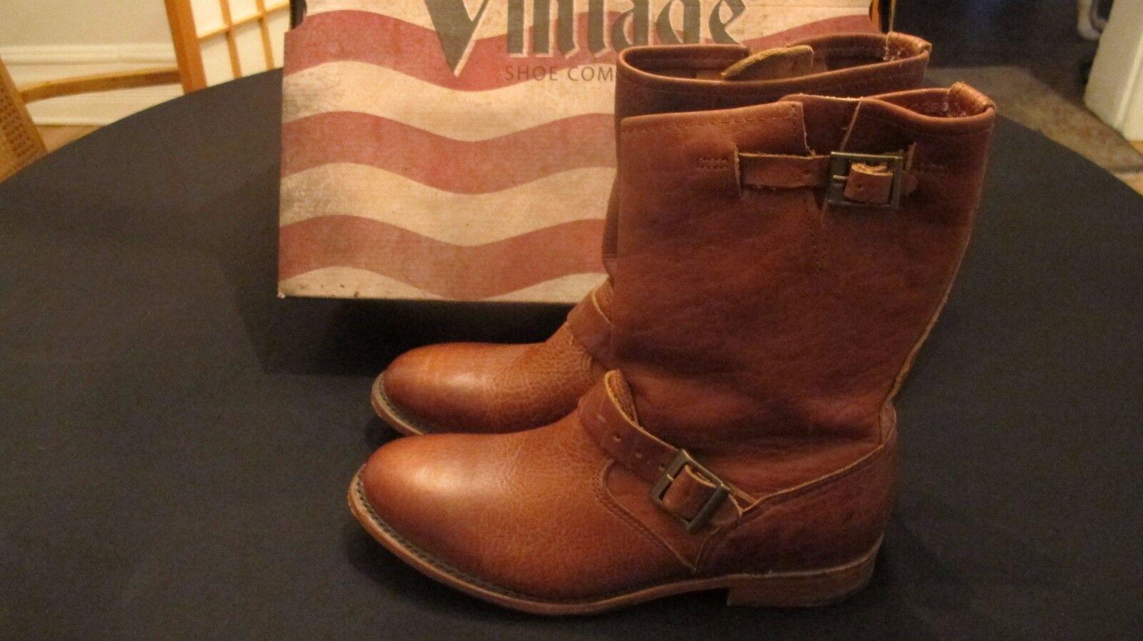 Vintage zapatos Co Veronica maní Bisonte botas al Tobillo Marrón De Cuero Talle 9.5 Nuevas Con Caja