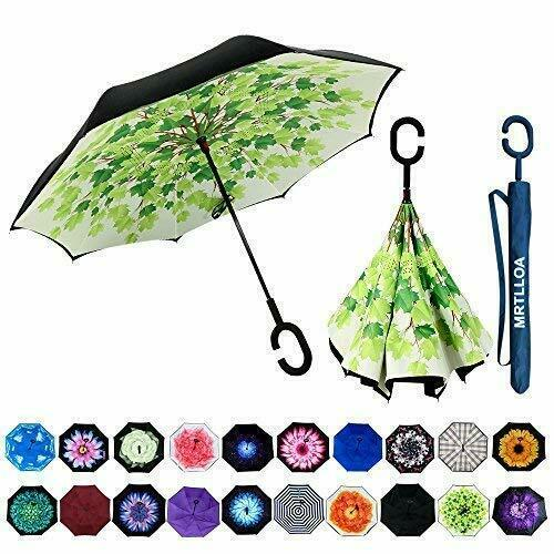 Double Layer Inverted Umbrella With C-Shaped Handle For Car Rain Outdoor Use New