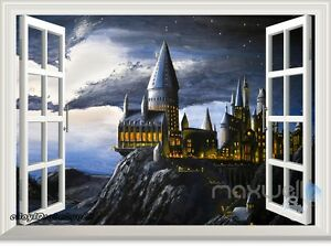Image is loading Harry-Potter-Hogwarts-Castle-3D-Window-Wall-Decals- & Harry Potter Hogwarts Castle 3D Window Wall Decals Stickers Kids ...