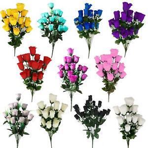 18 Head Rose Bud Bouquet Artificial Silk Flowers Fake Funeral Ebay
