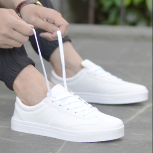 3104b1a0a9a4e Summer Flat Mens White Sneakers Canvas Board Casual Sport Baseball ...