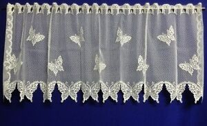 Stunning-Heritage-Lace-Butterfly-White-or-Ivory-Cream-61-034-x-24-034-Valance-Tier