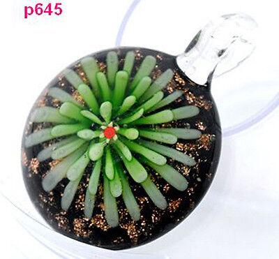 new green handmade flower art glass beaded pendant necklace p645