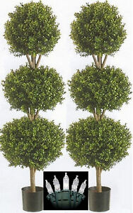 Christmas Topiary Balls.Details About 2 Artificial 56 Boxwood Outdoor Topiary Tree 4 8 Triple Ball Christmas Lights