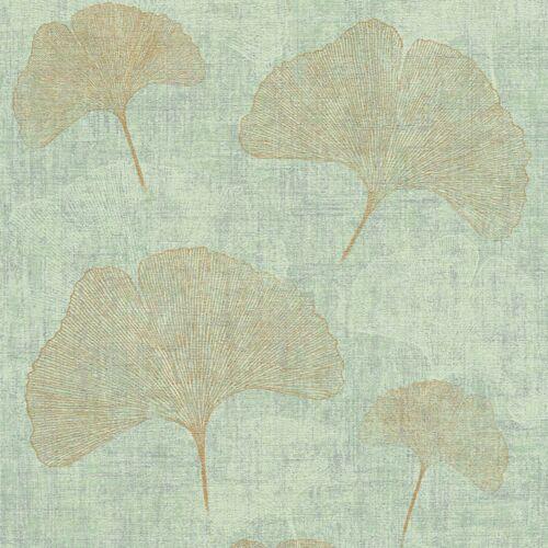 Vliestapete Borneo in Grün Blau Gold Gingko Blatt Blätter Metallic Look Glänzend