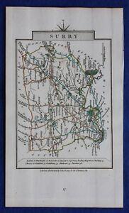 Original-antique-county-map-SURREY-039-SURRY-039-John-Cary-1828