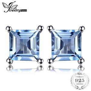 Cuadrado-Corte-Topacio-Azul-Cielo-0-7ct-natural-solido-925-Plata-Esterlina-Pendientes-con-Pasador