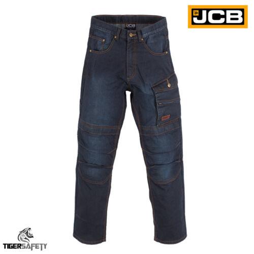 JCB 1945 Work Jeans Combat Multi Pocket Heavy Duty Blue Denim Kneepad Trousers