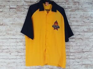 5f23b218 JNCO Men's Button Down Flame Shirt 90's Biker Retro Large L Short ...