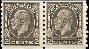 Mint-Canada-3c-Coil-LINE-PAIR-1933-F-Scott-206-KGV-Medallion-Stamps-Never-H