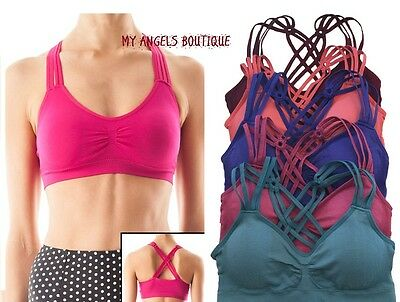 SEAMLESS CAGED STRAPPY GYM YOGA WORKOUT SPORTS BRA Top Bra Bustier Pads