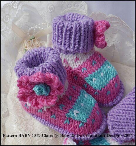 """Babydoll Handknit Designs Knitting Pattern New Baby Set 16-22/"""" poupée//0-3M bébé"""