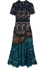 NWT $510 SELF-PORTRAIT Prairie Guipure Floral Lace Midi Dress UK 6 US 2
