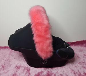 New-Pram-Furs-Car-Seat-Hood-Fur-Trim-Cabriofix-Pebble-Winter-Pink-White-Black