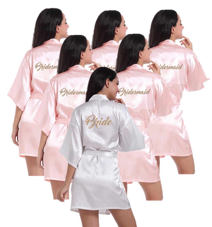 Pink Set of 6 pcs Bride Bridesmaid Robe Wedding Kimono Bathrobe Satin Silk Gown
