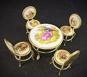 Table-chaises-fauteuils-miniature-en-porcelaine-er-laiton-Vintage