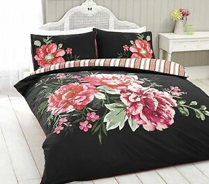 Floral-Reversible-Print-Duvet-Cover-Bedding-Set-King-Size-Size-Black