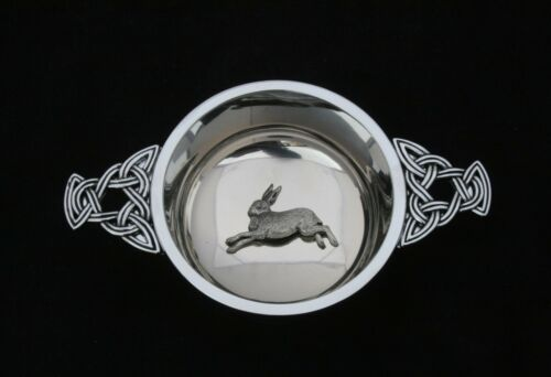 Hare Running Quaich Scottish Drinking Bowl Pewter Stainless Steel Christening