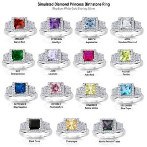 Blanco-Oro-3-Piedra-Princesa-Diamante-Sintetico-de-Nacimiento-Anillo-Plata-Ley