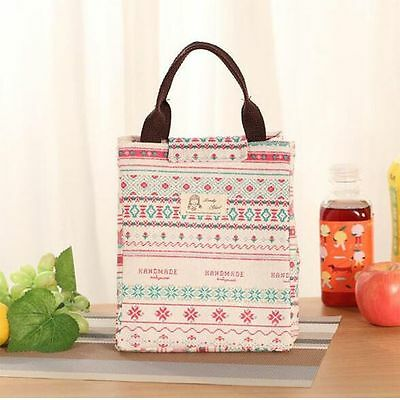 For Women Kids Men Bag Insulated Canvas Box Tote Thermal Cooler Food Lunch Bag