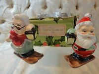Vintage Lefton Christmas Santa and Mrs. Claus on skis salt and pepper shakers