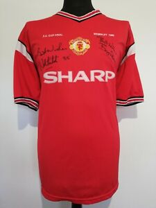 Manchester United Retro 1985 FA Final Shirt Signed Bryan Robson Norman Whiteside