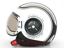 MOMO style Matte Black / White DOT Open Face Helmet Motorcycle scooter (SS6)