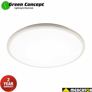 Mercator-Jazz-28w-Slim-LED-Oyster-Ceiling-light-Cool-or-Warm-White-Dimmable-IP54