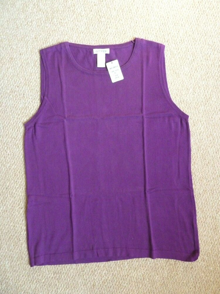 """orvis's Violet Mailles Fines Coton/soie Sans Manches Pull-taille Xl Bnwt"