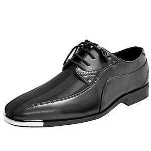 Details About New Mens Dress Shoes Fashion Satin Silver Tip Lace Up Style Black Tone Stripes