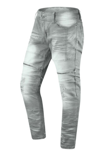 NEW Men Denim Biker Premium Ripped Zipper Jeans Slim Fit Stretchy Fabric 32-44