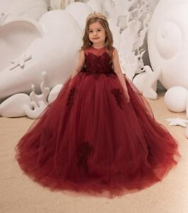 f5f926fc54 Kids Wine Red Lace Flower Girl Dress For Wedding Birthday Party ...