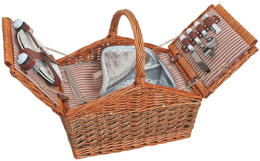 Cesta de picnic 2 personas cesta de mimbre 15-tlg inc caldeadas vajilla & Bolsa de refrigeración
