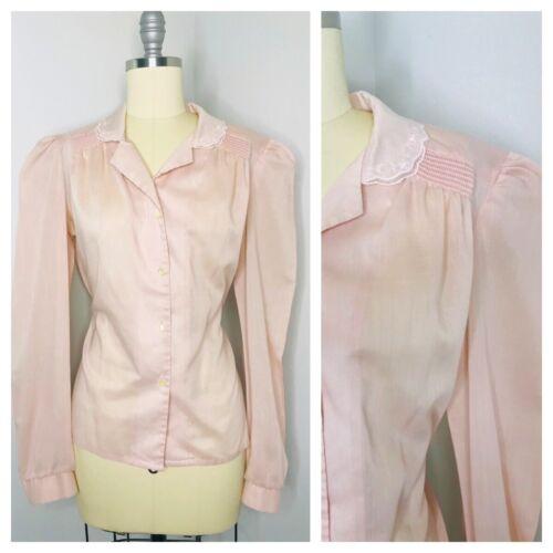 Vintage 70s 80s Prairie Smocked blouse Top Size L