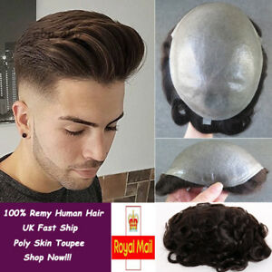 Thin Skin Toupee Mens Hairpieces Wig 100 Human Hair