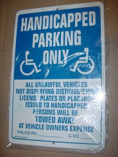 HANDICAPPED PARKING ONLY TOW AWAY SIGN ALUMINUM NEW