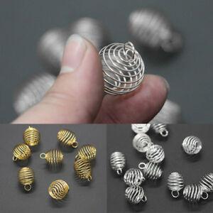 20 piezas de oro//PLATA PLATEADO COLGANTES hallazgos 8x9mm espiral del grano jaulas