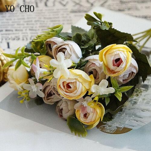 Paquete De 1 Rosas Flores Artificiales Ramo De Té Boda Fiesta Floral Decoración De Hogar