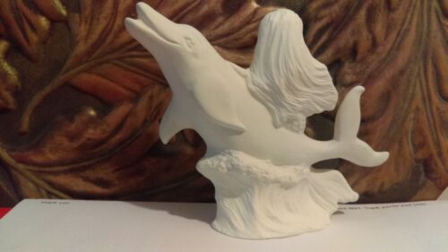 """Mermaid Riding on Dolphin ready to Paint Ceramic Bisque 4/"""" Collectible Figurine"""