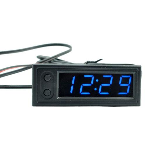 3-in1 Car Digital Clock Temperature Thermometer Voltage Meter Voltmeter DC 12V