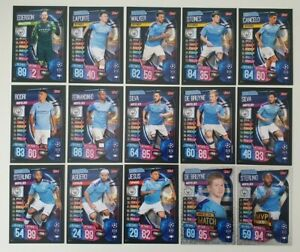 2019-20-Match-Attax-UEFA-Soccer-Cards-Manchester-City-Team-Set-inc-2-shiny